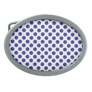 Deep Blue Polka Dots Belt Buckle