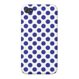 Deep Blue Polka Dots iPhone 4 Cases