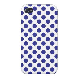 Deep Blue Polka Dots iPhone 4 Cases