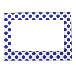 Deep Blue Polka Dots Magnetic Picture Frame