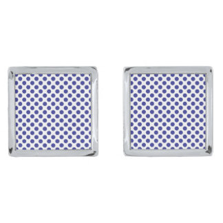 Deep Blue Polka Dots Silver Finish Cufflinks