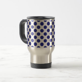 Deep Blue Polka Dots Travel Mug