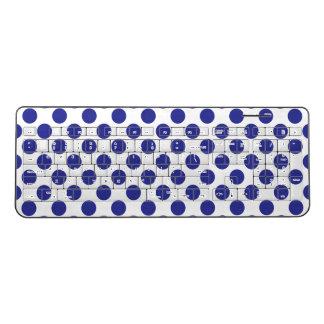 Deep Blue Polka Dots Wireless Keyboard