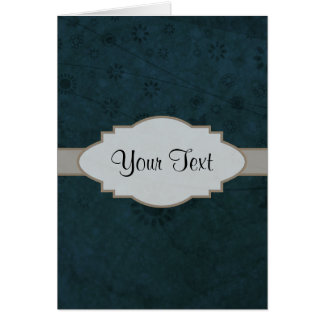 Deep Blue Retro Floral Abstract Nameplate Note Card
