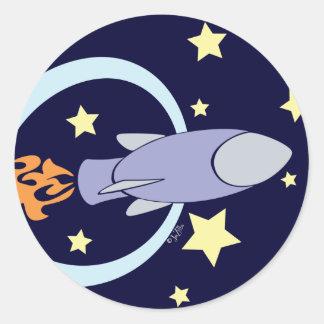 Deep Blue Rocket Kids Retro Space Round Stickers