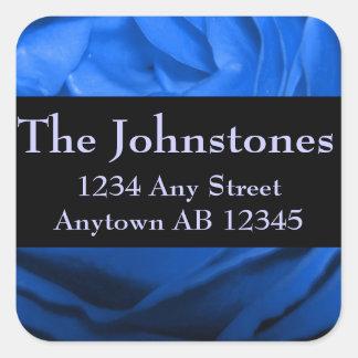 Deep Blue Rose Wedding Return Address Sticker