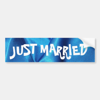 Deep Blue Silk Effect Wedding Bumper Sticker