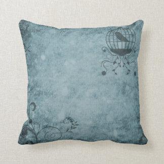 """Deep Blue Steampunk Bird Cage Pillow 16"""" x 16"""""""