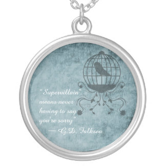 Deep Blue Steampunk Bird Cage Round Necklace
