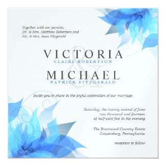 Deep Blue & White Floral Wedding Invitations