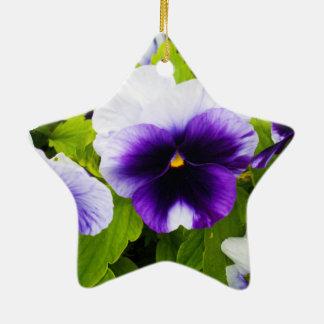 Deep_Blue_White_Pansies,_ Ceramic Star Decoration