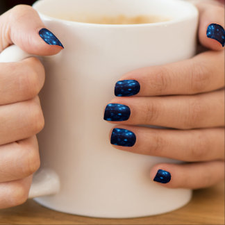 Deep Blue with Bright Snowflakes Minx Nail Art
