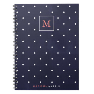 Deep Blue with Coral Monogram and White Dots Notebook