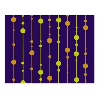 Deep blue, yellow and orange pattern postcard