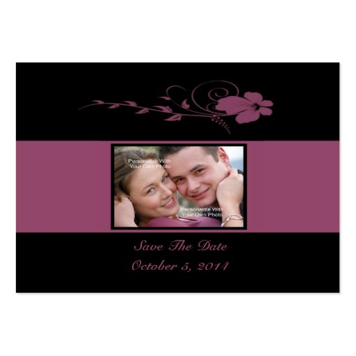 Deep Blush Flowing Flower Photo Save The Date Card Business Card Template