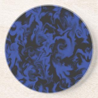 Deep Bright Blue & Black mixed color coaster