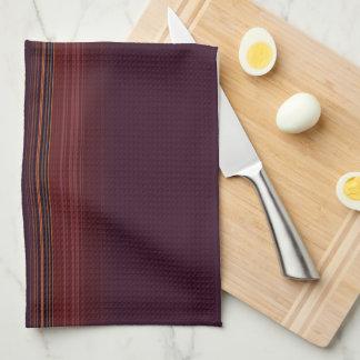 Deep Burgundy and Golf Stripes Tea Towel