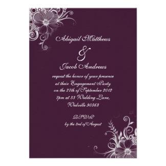 Deep Burgundy Flowers Engagement Party Invitation