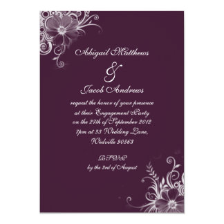 "Deep Burgundy Flowers Engagement Party Invitation 5"" X 7"" Invitation Card"