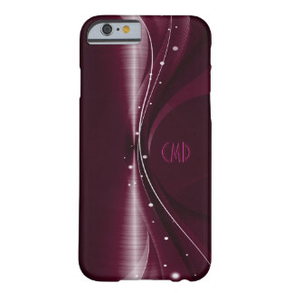 Deep Burgundy Metallic Retro Dynamic Wave Barely There iPhone 6 Case