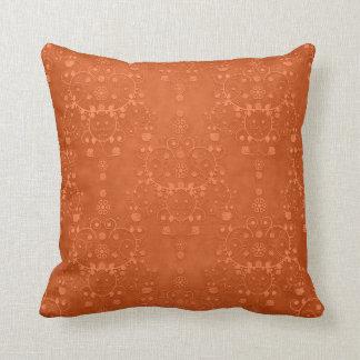 Deep Burnt Orange Fancy Damask Pattern Cushion