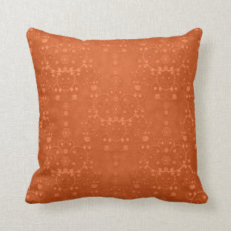Deep Burnt Orange Fancy Damask Pattern Throw Pillow