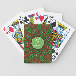 Deep Burnt Orange Green 'Let It Snow' Bicycle Playing Cards
