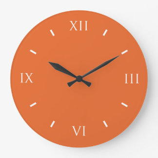 Deep Carrot Orange Classy Solid Color Large Clock