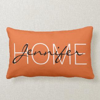 Deep carrot orange colour home monogram lumbar pillow