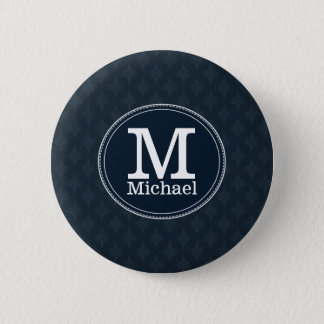 Deep Classic Navy Custom Monogram 6 Cm Round Badge