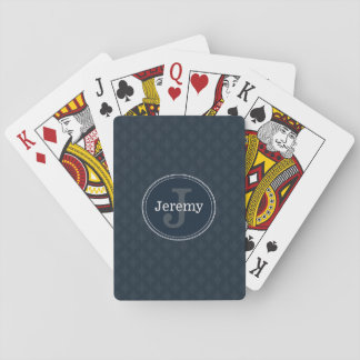 Deep Classic Navy Custom Monogram Poker Deck