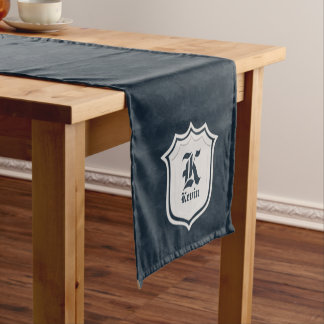 Deep Classic Navy Custom Monogram Short Table Runner