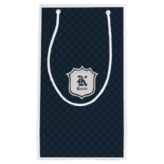 Deep Classic Navy Custom Monogram Small Gift Bag