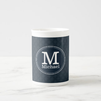 Deep Classic Navy Custom Monogram Tea Cup