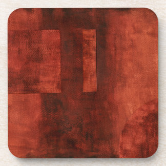 Deep Crimson Painting with Geometric Shapes Beverage Coasters