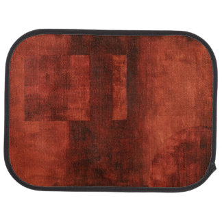 Deep Crimson Painting with Geometric Shapes Car Mat