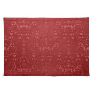 Deep Crimson Red Fancy Floral Damask Pattern Placemats