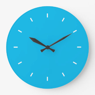 Deep Cyan Top One Color Large Clock