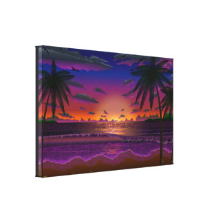 Deep Dusk Beach Scene Canvas print art