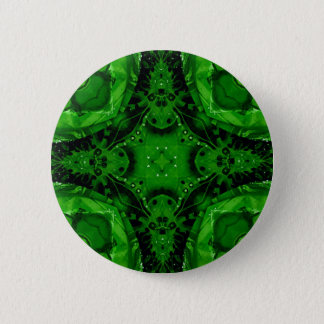 Deep Emerald Green Cross Shaped Design 6 Cm Round Badge