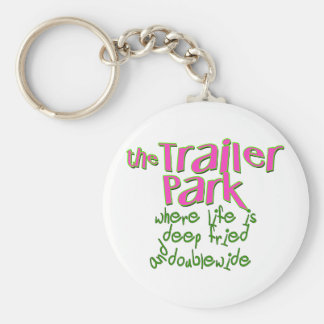 Deep Fried Double Wide Trailer Park Basic Round Button Key Ring