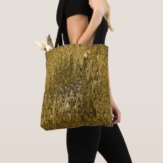 Deep Gold Waves Rippling Pattern Tote Bag