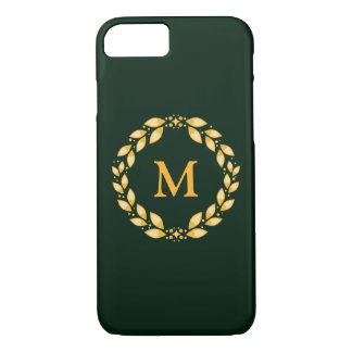 Deep Green and Bright Gold Wreath Monogramed Phone iPhone 7 Case