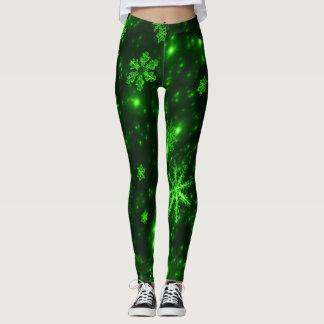 Deep Green & Bright Snowflakes Leggings
