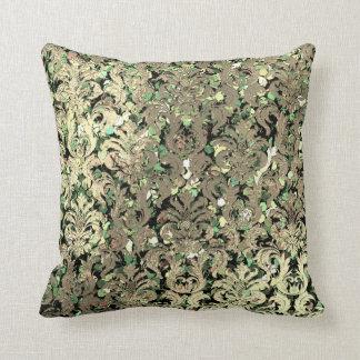 Deep Green Damask Pink Rose Blush Sequin Faux Gold Cushion