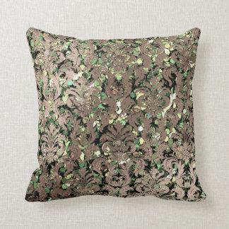 Deep Green Damask Skinny Glas Blush Sequin Bronze Cushion