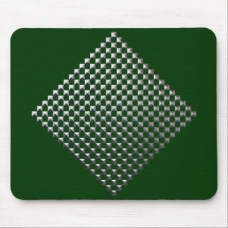 Deep Green Mousepad With Silver Square