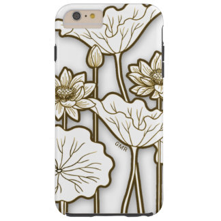 Deep Khaki Trim on Big White Flowers Monogram Tough iPhone 6 Plus Case