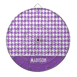 Deep Lilac Houndstooth; Personalized Dartboard With Darts