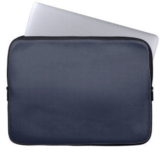 Deep Navy Dark Blue Solid Trend Color Background Laptop Sleeve
